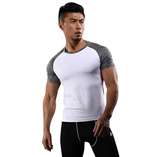 DDKK Herren Sport-Shirt, kurzärmelig, Kompressions-Oberteil, Unterwäsche, Sport-Shirt, Laufen, Fitness, Workout, Bodybuilding, Shape-Wear L weiß -