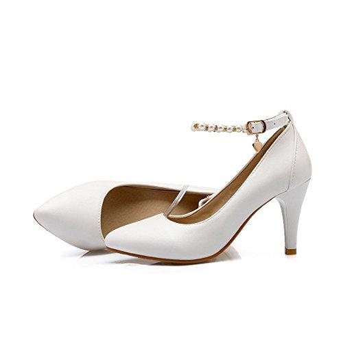 VogueZone009 Damen Blend-Materialien Schnalle Spitz Zehe Stiletto Rein Pumps Schuhe Weiß