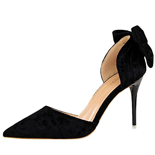 Oasap Women's Pointed Toe Slip-on Bow Suede Pumps Black