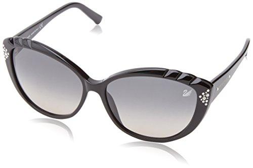 Swarovski Damen SK0056-6101B Sonnenbrille, Schwarz (Shiny Black), 61