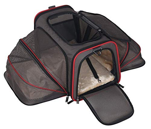 ABISTAB Hundebox faltbar Transportbox Hunde und Katze Transporttasche für Auto- und Flugreisen geeignet Tragetasche Maxi 72cm zweiseitig ausklappbar :1-Schwarz-Kirschrot