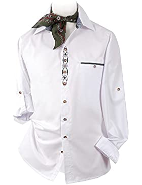 Top-Quality - Trachtenhemd Herren Langarm/Kurzarm - Edelweiß - Komfort in Baumwolle - Weiß