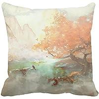 warrantyll Maples River Mountain Home cotone cuscino decorativo quadrato Throw Pillow Case, Cotone, #1, 20