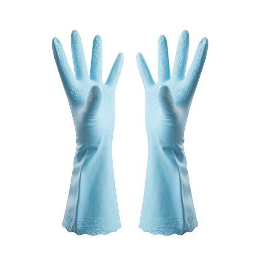 2 Paare Hausarbeit Handschuhe, Haushalts Kautschuk Handschuhe, Wasserdichte Gummihandschuhe Haushaltshandschuhe Kautschuk für Küche Teller Reinigung Wäscherei Gartenhandschuh.[ Blau ]