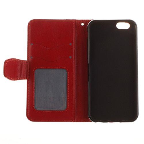 Etsue pour Apple iPhone 6 Plus/6S Plus 5.5 Coque,PU Cuir Portefeuille Case Pattern Leather Étui Carte Fentes pour iPhone 6 Plus/6S Plus 5.5,Coloré Retro Flip Case Wallet Cover Folio Book Style Magneti Fleur Rouge