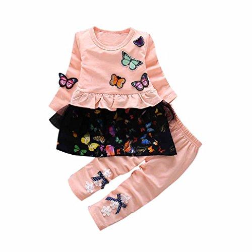 Amlaiworld Baby Mädchen Langarm t-Shirt Kleider+Hosen Kinder Niedlich Schmetterling Blumen Kleidung(12-36Monate) (18 Monate, Orange)
