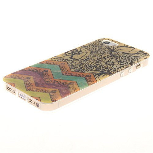 Nancen Ultra Slim Handyhülle für Apple iphone 5 / 5S / SE (4,0 Zoll), Bunt Muster Painted Premium Etui Weich TPU Material Hülle Case Cover Schutz Silikon Schutzhülle Handy Backcover - Anti-kratzfest u wave-Blume