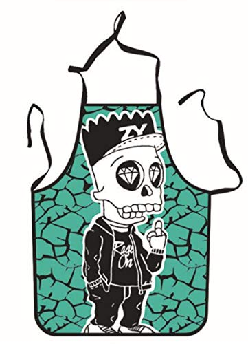 Ckvne Halloween Aprons Skull Printing Adult Kitchen Apron Dinner Party Cooking Apron Cuisine Pinafore Children 54 * 72Cm
