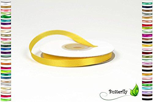 Creativery 25m Rolle Satinband 6mm (gelb 645) // Schleifenband Deko Band Dekoband Geschenkband Dekoration Hochzeit Taufe