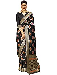 Saree For Women Latest Design 2018 Saree Mall Women's Silk Saree With Blouse Piece (Black_Silk Saree For Women_KNY32003)