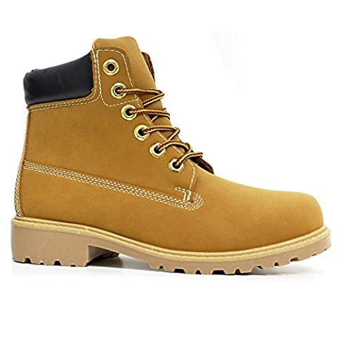 Womens High Top Boots Hiking Desert Trail Combat Ladies Ankle Chelsea Work Lace Up Biker Shoes Size (5 UK / 38 EU, S2 Tan)