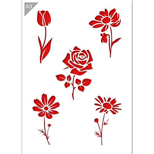 QBIX Blumen Schablone - Tulpe Schablone - Rose Schablone - Gänseblümchen Schablone - A3 Größe - Wiederverwendbare Kinder freundlich DIY Schablone zum Malen, Backen, Basteln, Wand, Möbel -
