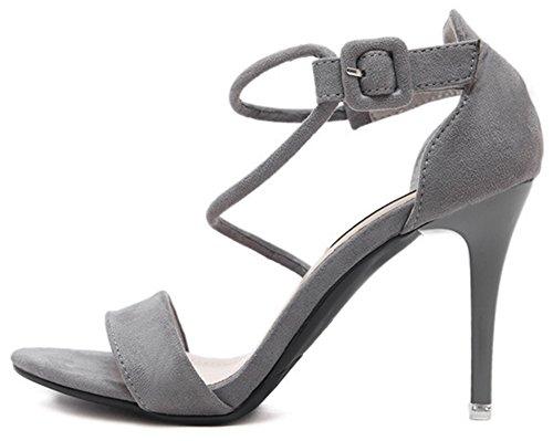 Aisun Damen Sexy Römisch Offene Toe Knöchelriemchen Schnalle Stiletto Sandalen Grau