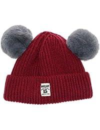 7ccb55401391a Invierno de Punto Sombreros para bebés Niñas Niños Dulce Sombrero Sólido  con Dos Pelotas Pompom Bolas Niños Gorras para Niñas Gorro…