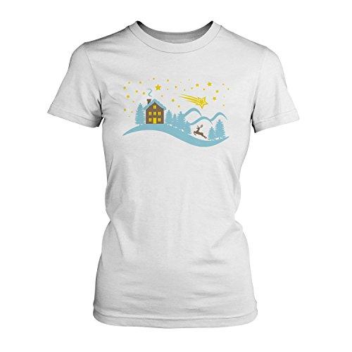 Fashionalarm Damen T-Shirt - Winter Landschaft | Fun Shirt als Geschenk Idee Weihnachten Heiligabend Nikolaus Weiß
