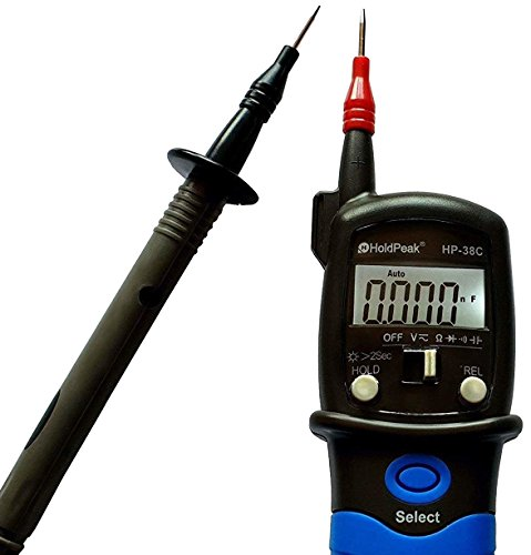 HoldPeak HP-38C Spannungstester zweipolig mit Multimeter Zusatzfunktionen Spannungsprüfer Durchgangsprüfer blau/schwarz