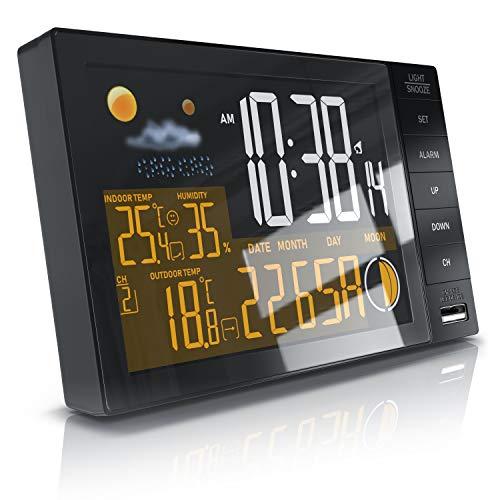 CSL - Funk Wetterstation mit Farbdisplay inkl. Funksensor | Annen- und Außensensor | DCF Signal | Thermometer | Hygrometer | Mondphasen | Luftfeuchtigkeit | Alarm | Schlummerfunktion