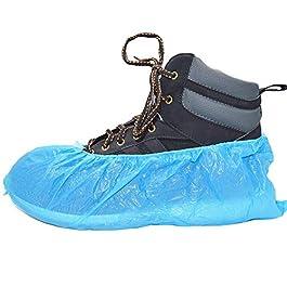 100 'Simply Direct' coperture del pattino / copriscarpe monouso. Pavimento, tappeti, scarpe protettori CPE 2.5g x 100. goffrato. Luce per l'uso medio.