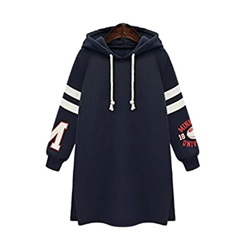 ❤❤Sweatshirt damen Kolylong® Frauen Casual Langarml Sweatshirt mit Kapuz Plus Size Pullover langer Herbst Mode Mantel Tops T-Shirt Bluse (XXXXL, Dunkelblau)