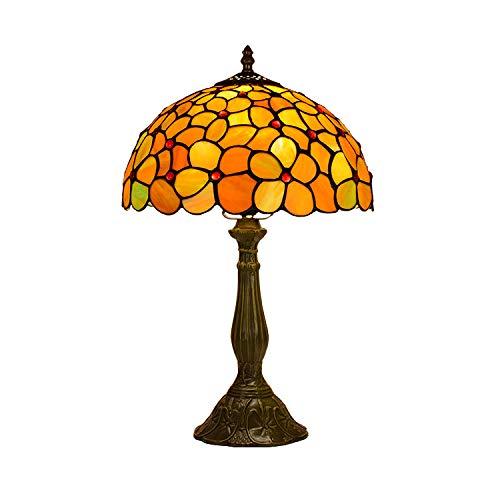 Handgefertigte Tiffany-Tischlampe, Blauer Glaslampenschirm, 12 W LED-Lichtquelle, Metallfuß, E27-Lampenfassung, Rustikaler Stil