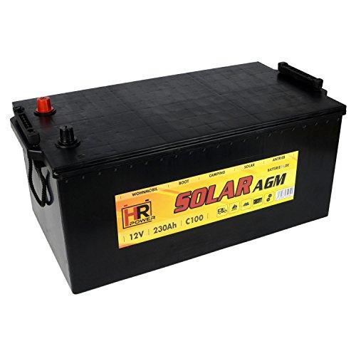 HR Solar AGM | 12V 230Ah Versorungsbatterie als Wohnmobilbatterie Bootsbatterie Solarbatterie Wohnwagenbatterie VRLA Vliesbatterie