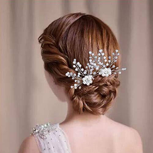 aarkamm, Set, silberfarbene Blume, Brautschmuck, Haarkamm, Strass-Haarschmuck für Braut, Brautjungfern (2er Set) ()