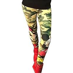Leggins de mujer elasticos para clases de pilates, yoga, zumba. Mallas compresion con dibujos y resistentes. (Mikie militar) Única