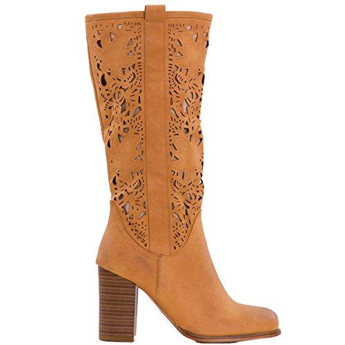 Toocool - Stivali donna scarpe texani traforati estivi tacchi Queen Helena nuovi QH16039 Camel