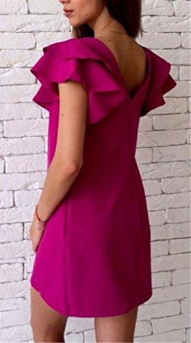 Damensommer Loose Lotoshülse Kleid Rückenfrei Mit Kurzarm Rundkragen Bonbonfarbenen Minikleid Rosa