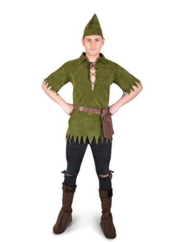 ens Fancy Dress Peter Pan Fairytale Book Day Adults Costume (Mann Peter-pan-kostüm)