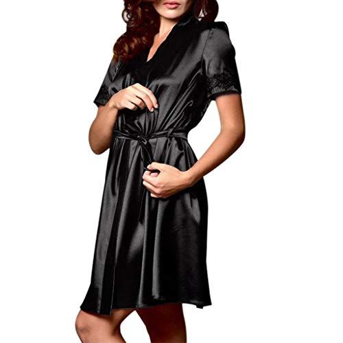 Amphia - Damen Sexy Pyjamas - Spitzenrobe - Frauen Satin Nachthemd Seide Dessous Nachthemd Nachtwäsche Sexy Robe