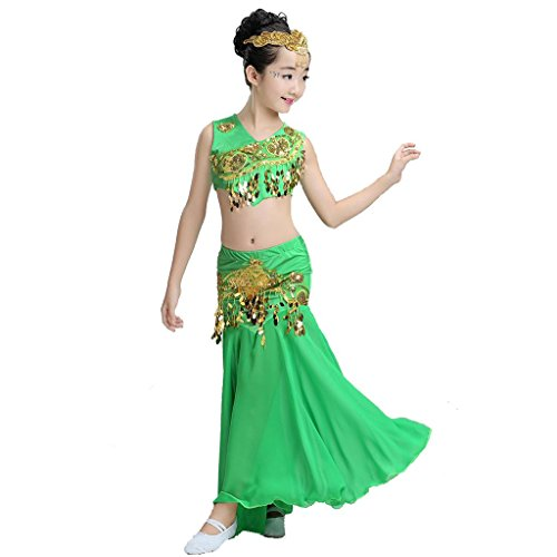 Byjia Kinder Pfau Bauch Tanz Performance Kostüm Mädchen Fischschwanz Rock Klassische Sequins Mädchen Tragen Kinder Bühnen Studenten Chor Gruppe Team . 1# . (Plus Bauch Tanz Size Kostüme)