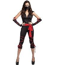 Costume carnevale Halloween travestimento da pirata nero rosso maglietta e leggings cosplay festa