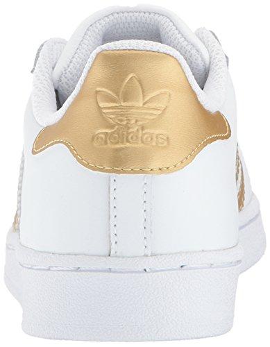 adidas Originals Unisex-Kids Superstar C, White/Gold Metallic/Blue, 2 M US Little Kid