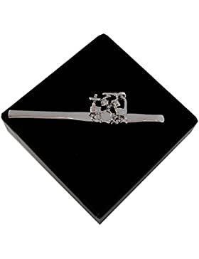 Batteria cravatte clip ago drums musica argento lucido + Confezione regalo