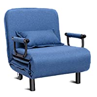 CASART Blue 2-in-1 Sofa Bed Folding Futon Chair W/Pillow & Wheels for Single Sleep Guest Home Bedroom Living Room Office Indoor