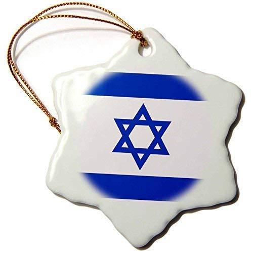 DKISEE 550i Flagge Blau-Weiß Magen David Star State of israelischen Judentum Zionismus Ornament, Schneeflocke Keramik Weihnachten Ornament, Weihnachtsbaum Deko Onament, Ideal