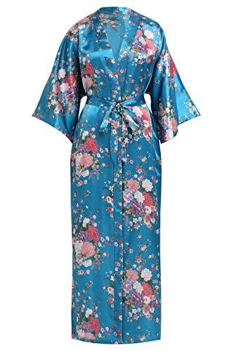 (Fantherin Damen Kimono Kirschblüte Maxi Lang Damen Morgenmantel Bademantel Blumen Schlafmantel Braut Junggesellinnenabschied Party 135 cm (See Blau))