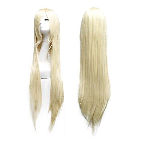 Sexy Perücke Lange (Perücke Blond 100cm Lange Haare Sexy Damenperücke Wig für Karneval Cosplay Halloween fasching (hellblond))