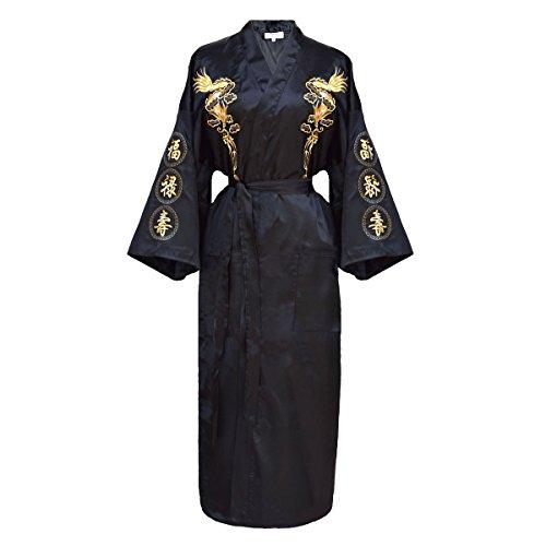 Damen Morgenmantel chinesischer japanisher Kimono mehrere Farben zur Auswahl Schwarz