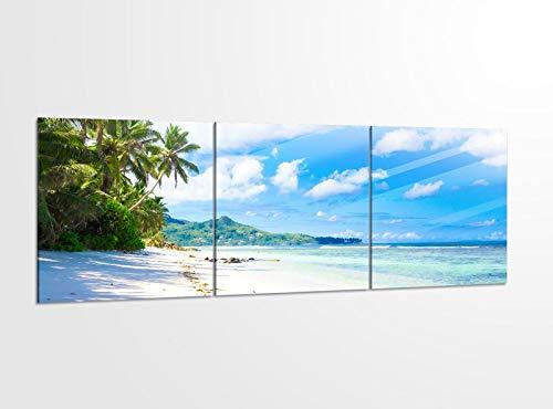 Acrylglasbilder 3 Teilig 150x50cm Landschaft Malediven Strand Meer_ Acrylbild Bilder Acrylglas Wand Bild Kunstdruck 14?5496, Acrylglas Größe 6:BxH Gesamt 150cmx50cm