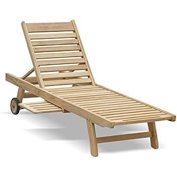 Charles Bentley Hardwood Wooden Garden Patio Sun Lounger Sunbed Recliner Tray
