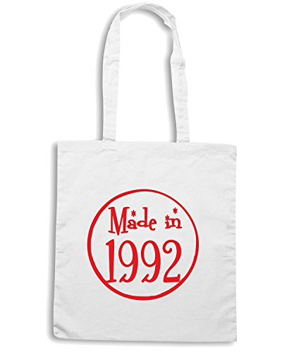 T-Shirtshock - Borsa Shopping TR0090 Made In 1992 21st Birthday Party Nineties 90s Pink, Taglia Capacita 10 litri
