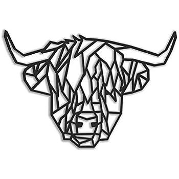 Fotodekora T/ête dours Sculpture de Lignes Noires /à accrocher au Mur Motif g/éom/étrique Art Mural Animaux Origami