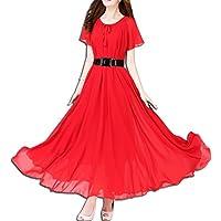 KAXIDY Donna Abito Vestiti Manica Corta Abiti di Sera Abiti Sezione (Sposa Abito Lungo)