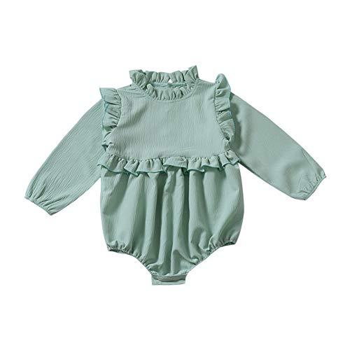 Gyratedream Baby Mädchen Strampler Spielanzug Frühling Herbst Langarm Einfarbig Rüschen Onesies Overall für 0-24 Monate ()
