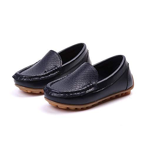 2018 Herren Schlupfschuhe flach Jungen Casual PU Leder Penny Driving Loafer Mädchen Bare Vamp Mokassins Kinder Bootsschuhe, PU-Leder, Navy, 12.5 UK Child