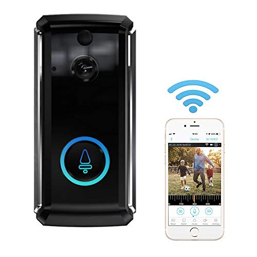 Video Doorbell, Inalámbrico Videoportero 720P HD con Audio Bidireccional Detección de Movimiento y Conexión WiFi Burglar Reminder App for iOS/Android