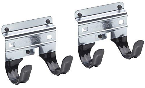 Meister Gerätehalter Doppelhaken ✓ 2 Stück, lose ✓ Leichte Montage ✓ Für T-Griffe | Wandhalter | Werkzeughalter | Gartengeräte-Halter | Spatenhalter | 9952540 (T-griff Haken)