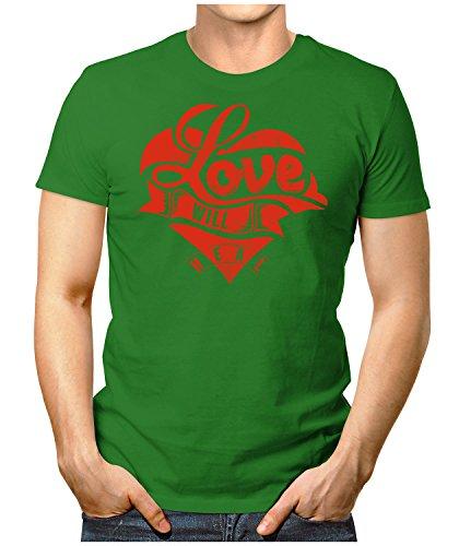PRILANO Herren Fun T-Shirt - LOVE-WILL-HEAL - Small bis 5XL - NEU Grün